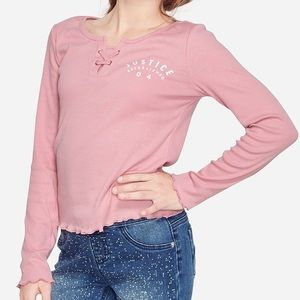 NWT Justice Ribbed Lace Up Long Sleeve Shirt Top 8